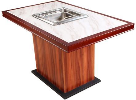 实木边框镶嵌大理石无烟火锅桌