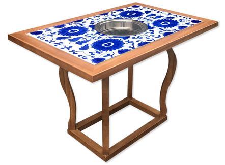 饭店仿古新中式青花瓷大理石实木电磁炉串串香火锅桌