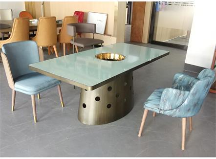 老北京火锅不锈钢大理石6人位长条火锅桌