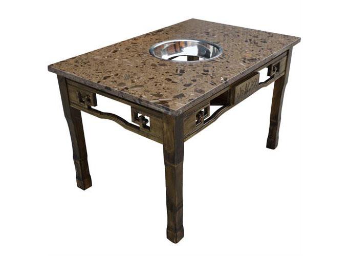 小龙坎大龙焱复古雕花大理石电磁炉实木火锅桌