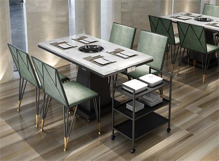大理石电磁炉4人火锅餐桌方桌