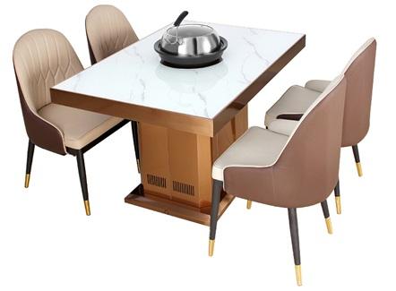 海鲜主题餐厅蒸汽大理石火锅餐桌