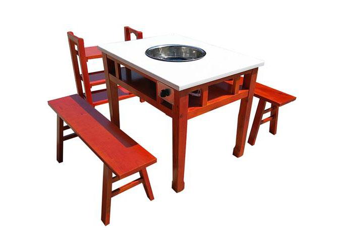 小郡肝串串香火锅桌椅 实木仿古雕花大理石火锅