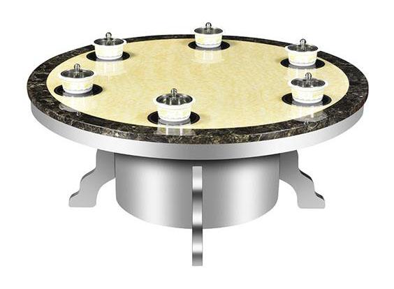 不锈钢桌脚大理石台面圆形火锅桌