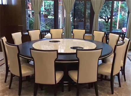 人造大理石电动餐桌12人位火锅圆桌带转盘