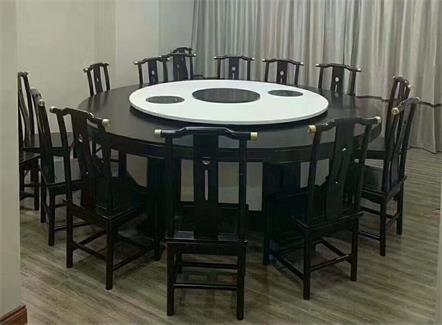 酒店饭店中式大理石实木14人16人位电动火锅桌