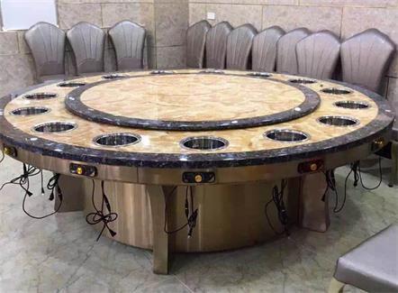 酒店饭店包厢15人位电动火锅餐桌