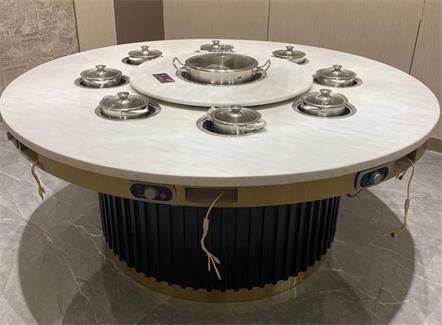 带转盘现代轻奢大理石电动餐桌