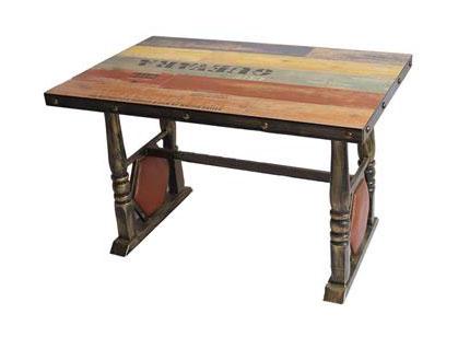实木餐桌面铁艺复古西餐桌_铜钉贴片围边餐桌