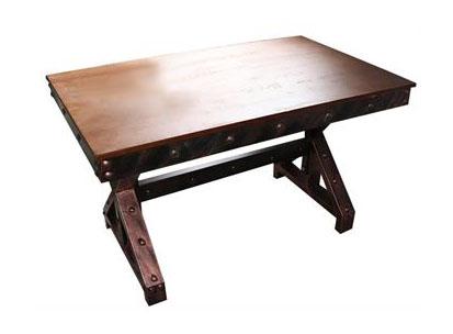 工业老旧主题风餐桌 铁艺餐桌 古铜色五金三角形