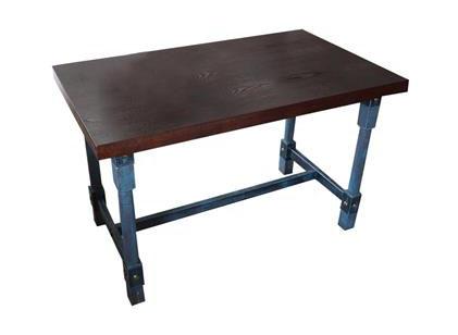 工业仿古风五金铁柱桌脚个性餐桌_实木方形做旧