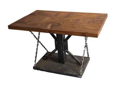 长方形工业铁艺_实木桌面米子结构餐桌_锁链拉桌