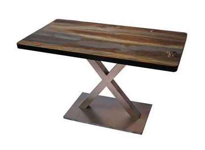 黑色围边实木餐桌_定制桌面印花磨砂不锈钢底座