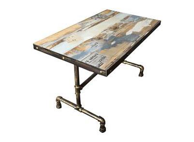 管艺水管餐桌工业风实木胡花纹餐桌 个性主题餐