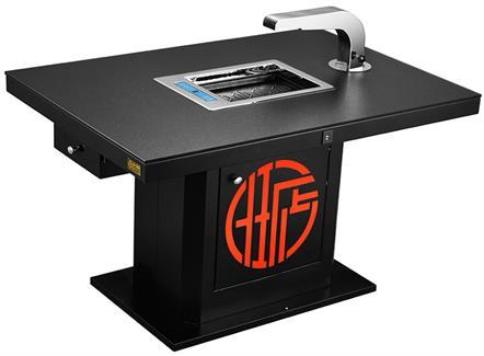 现代中式烤涮一体无烟火锅桌电磁炉餐桌自助烧烤桌