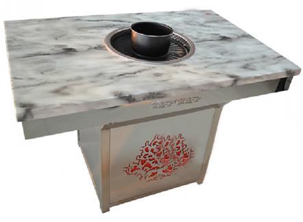 大理石台面烧烤火锅两用桌_无烟自助烤肉火锅一体桌