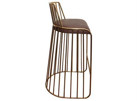 复古简约咖啡厅不锈钢靠背高脚椅家具