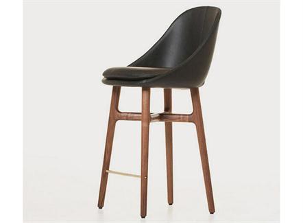 北欧简约咖啡馆实木休闲靠背高脚椅