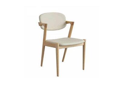 北欧现代简约咖啡餐厅水曲柳靠背扶手实木餐椅