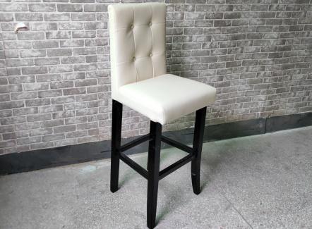 咖啡店休闲靠背高脚椅子_欧式吧台实木椅子