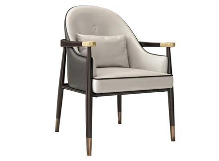 <b>高档咖啡厅实木皮革软包扶手椅</b>