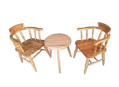 欧式复古做旧咖啡厅圆桌椅组合