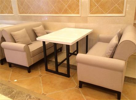 咖啡厅4人位时尚休闲布艺维也纳酒店沙发桌椅组合
