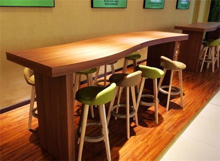 咖啡厅奶茶店面包店餐厅S型实木餐桌吧台