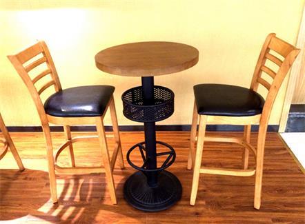 咖啡店圆形实木吧台桌高吧椅组合
