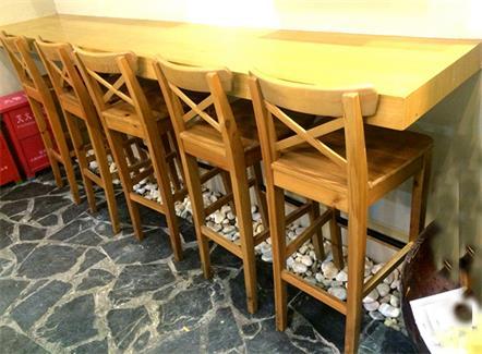 全实木吧台吧椅咖啡厅靠墙实木桌椅组合