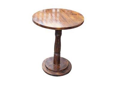 实木小圆桌罗马柱圆餐桌 复古做旧咖啡厅桌子
