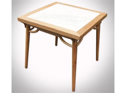咖啡店新中式实木包边大理石餐桌