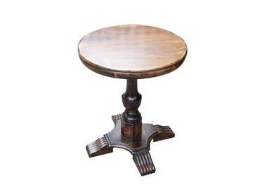 美式乡村复古全实木咖啡厅圆形餐桌