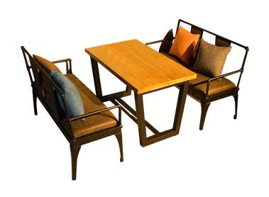 美式复古做旧铁艺咖啡厅桌卡座沙发组合