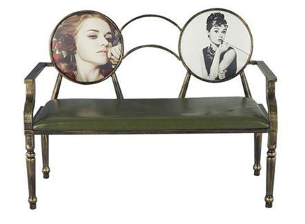 复古铁艺双人沙发椅奶茶店咖啡厅酒吧餐厅沙发