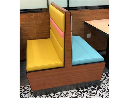 咖啡厅火锅店西餐厅实木框架双面坐人软包卡座