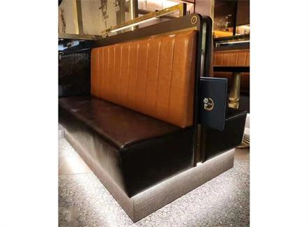 定制西餐厅甜品店复古真皮双面卡座沙发