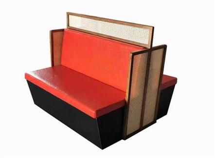 茶餐厅茶楼真皮软包双面卡座沙发
