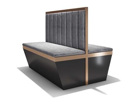 咖啡厅现代轻奢不锈钢卡座沙发