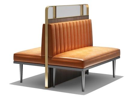 茶餐厅镀金不锈钢真皮双排卡座沙发