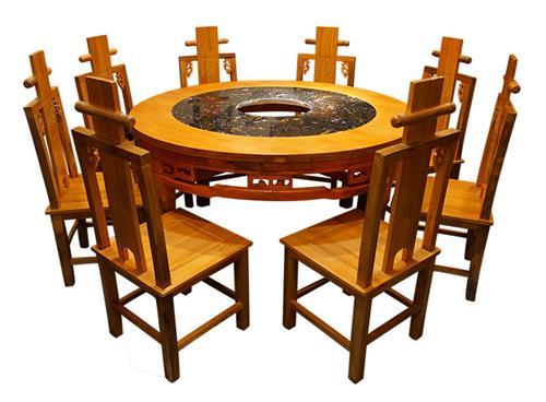 小龙坎实木大理石火锅桌煤气灶电磁炉大圆桌方