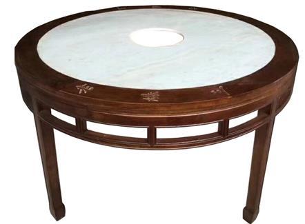 圆形大理石火锅桌仿古实木煤气灶电磁炉火锅桌--厂家直销