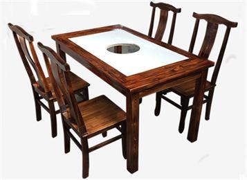 实木边框大理石台面串串香电磁炉液化灶实木火锅桌椅