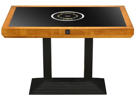 橡胶木边框防滑钢化玻璃金属钢铁桌脚电磁炉火锅桌