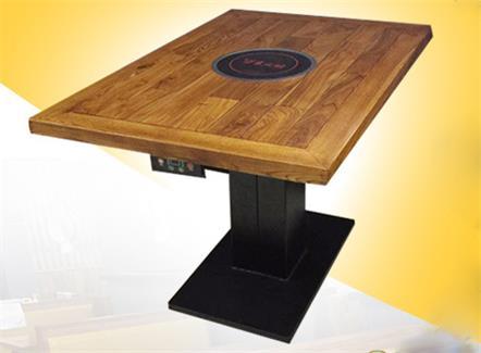 实木火锅餐桌椅大渝德庄老榆木电磁炉火锅桌