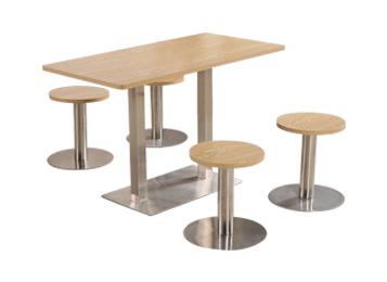 简易实木桌面不锈钢桌脚四人位 食堂桌椅组合