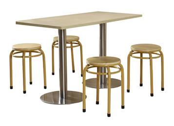 不锈钢桌脚防火板桌面四人位简易食堂桌椅