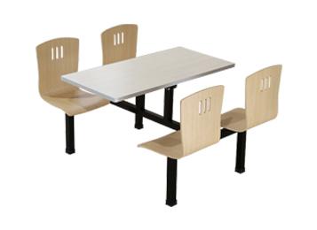 实木桌面铁艺桌脚连体四人位 简约食堂桌椅