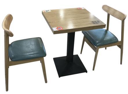 2人位餐厅食堂桌椅_实木