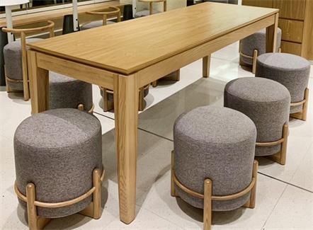 企业食堂家具6人位实木长条桌椅